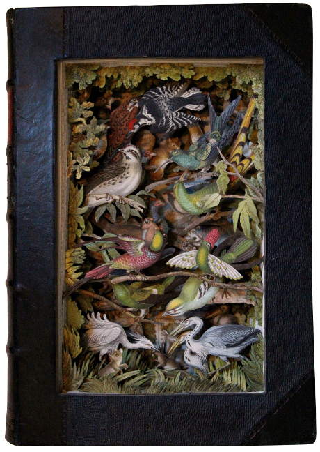book sculptures by Kerry Miller: Goldsmith's Animated Nature