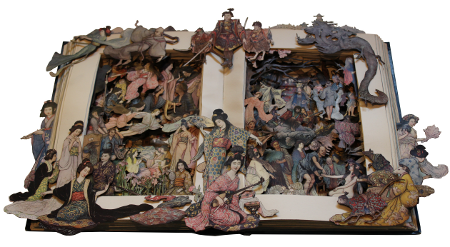 book sculptures by Kerry Miller: Green Willow and Other Japanese Fairy Tales